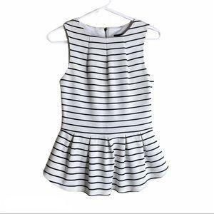 🦉MOSSIMO Top Peplum Sleeveless white black XS